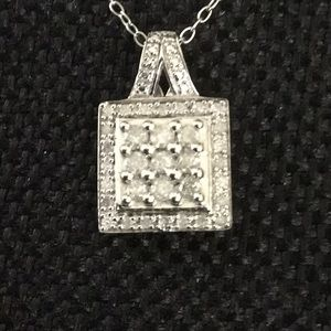 "Vtg.18""W/2""Ext.925Necklace With 3/4""x 3/4"".925Pend"